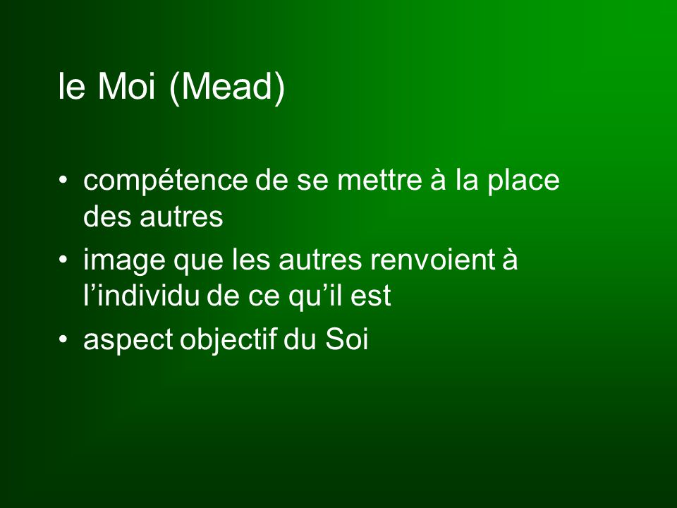 le Moi (Mead) compétence de se mettre à la place des autres image que les autres renvoient à l'individu de ce qu'il est aspect objectif du Soi
