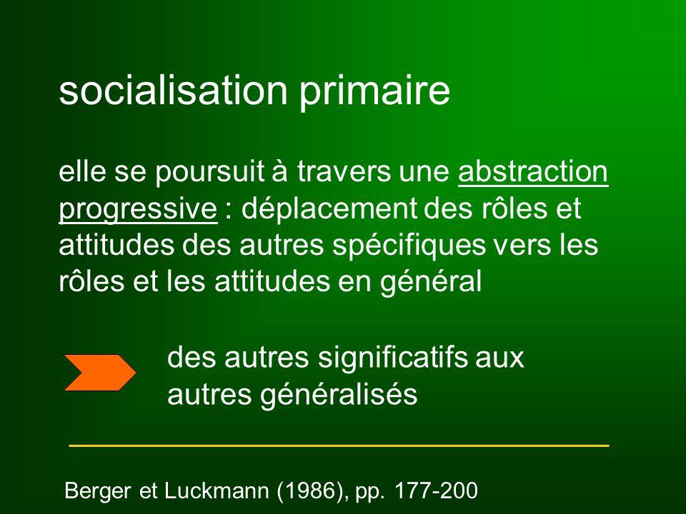 socialisation primaire elle se poursuit à travers une abstraction progressive : déplacement des rôles et attitudes des autres spécifiques vers les rôles et les attitudes en général Berger et Luckmann (1986), pp.