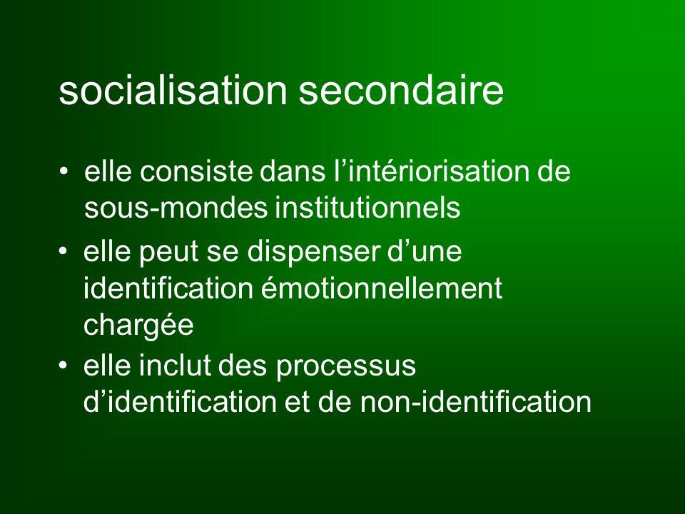 socialisation secondaire elle consiste dans l'intériorisation de sous-mondes institutionnels elle peut se dispenser d'une identification émotionnellement chargée elle inclut des processus d'identification et de non-identification