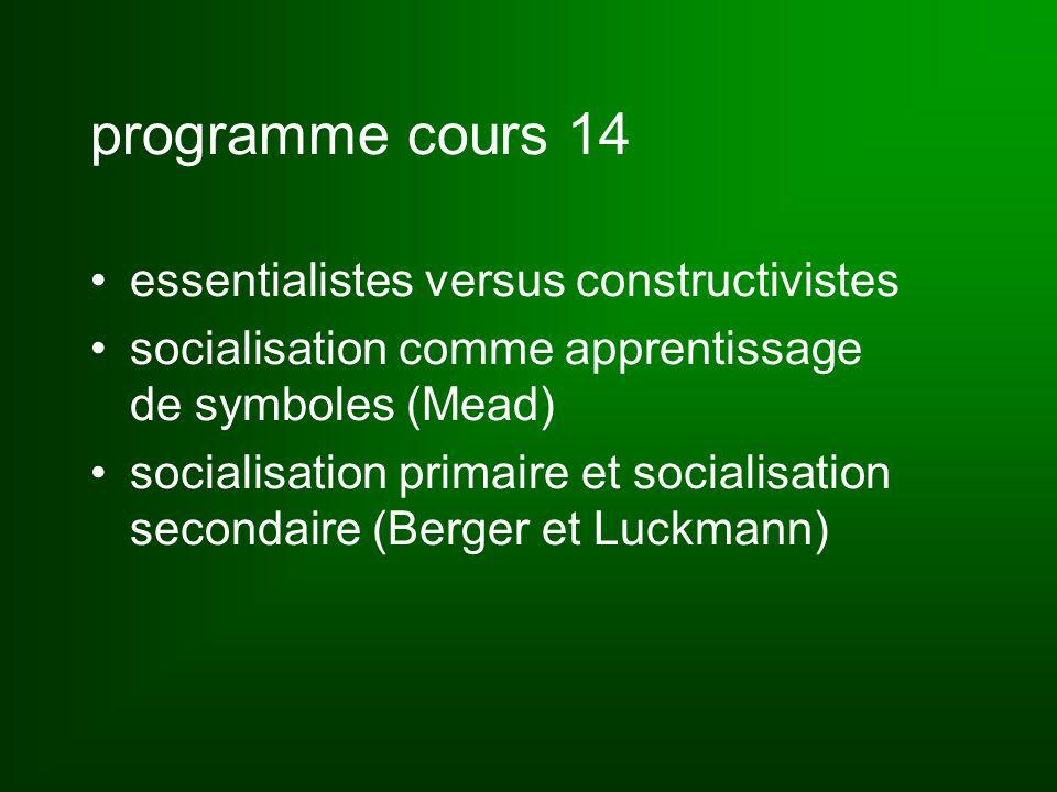 programme cours 14 essentialistes versus constructivistes socialisation comme apprentissage de symboles (Mead) socialisation primaire et socialisation secondaire (Berger et Luckmann)