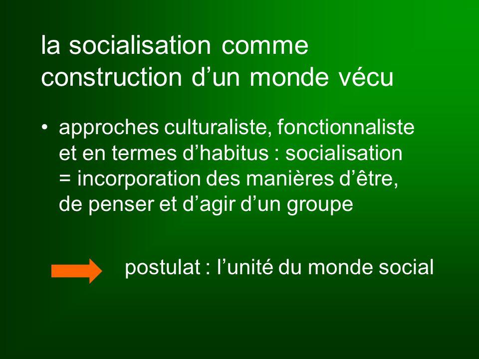 la socialisation comme construction d'un monde vécu approches culturaliste, fonctionnaliste et en termes d'habitus : socialisation = incorporation des manières d'être, de penser et d'agir d'un groupe postulat : l'unité du monde social