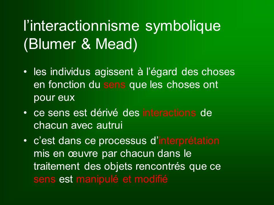 l'interactionnisme symbolique (Blumer & Mead) les individus agissent à l'égard des choses en fonction du sens que les choses ont pour eux ce sens est dérivé des interactions de chacun avec autrui c'est dans ce processus d'interprétation mis en œuvre par chacun dans le traitement des objets rencontrés que ce sens est manipulé et modifié