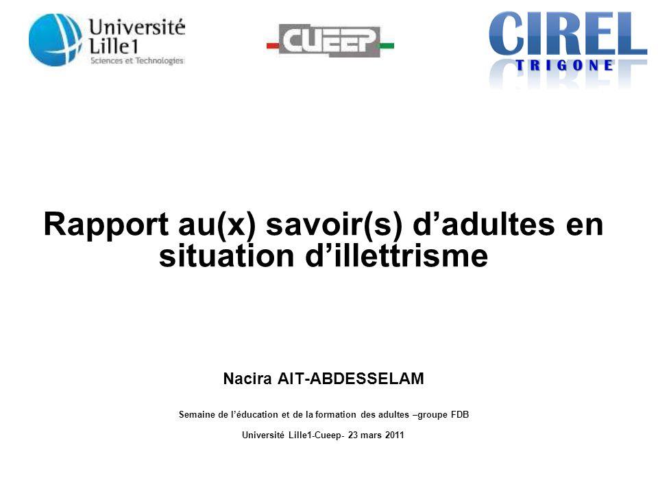 Rapport au(x) savoir(s) d'adultes en situation d'illettrisme Nacira AIT-ABDESSELAM Semaine de l'éducation et de la formation des adultes –groupe FDB U