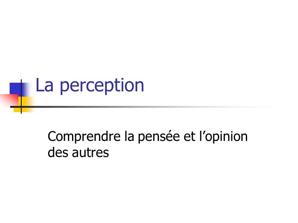 La perception Comprendre la pensée et l'opinion des autres