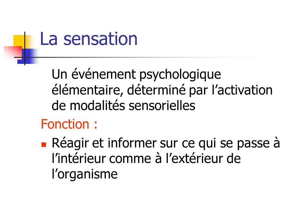 La sensation Un événement psychologique élémentaire, déterminé par l'activation de modalités sensorielles Fonction : Réagir et informer sur ce qui se passe à l'intérieur comme à l'extérieur de l'organisme