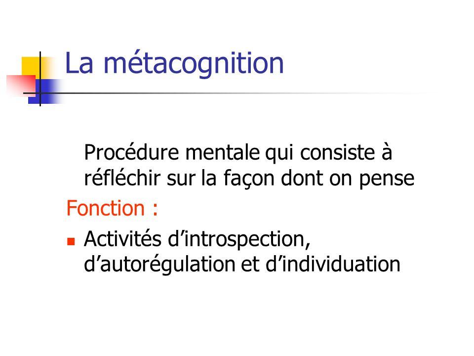 La métacognition Procédure mentale qui consiste à réfléchir sur la façon dont on pense Fonction : Activités d'introspection, d'autorégulation et d'ind