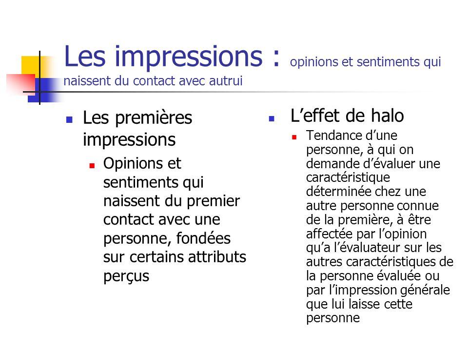Les impressions : opinions et sentiments qui naissent du contact avec autrui Les premières impressions Opinions et sentiments qui naissent du premier