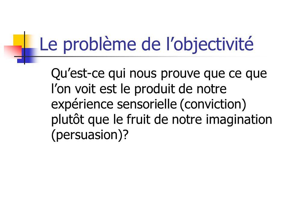 Le problème de l'objectivité Qu'est-ce qui nous prouve que ce que l'on voit est le produit de notre expérience sensorielle (conviction) plutôt que le fruit de notre imagination (persuasion)?