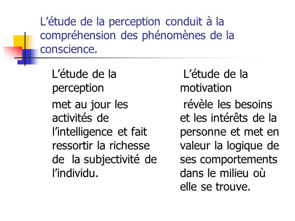 L'étude de la perception conduit à la compréhension des phénomènes de la conscience. L'étude de la perception met au jour les activités de l'intellige
