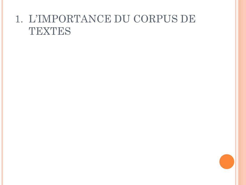 1.L'IMPORTANCE DU CORPUS DE TEXTES