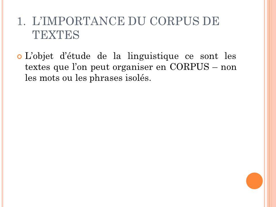 L'objet d'étude de la linguistique ce sont les textes que l'on peut organiser en CORPUS – non les mots ou les phrases isolés.