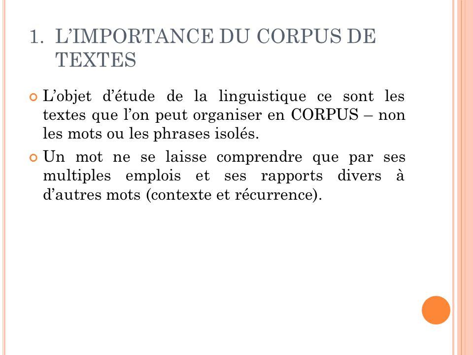 1.L'IMPORTANCE DU CORPUS DE TEXTES L'objet d'étude de la linguistique ce sont les textes que l'on peut organiser en CORPUS – non les mots ou les phras