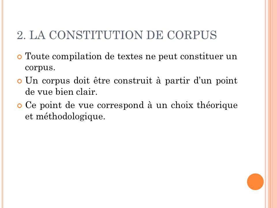 2. LA CONSTITUTION DE CORPUS Toute compilation de textes ne peut constituer un corpus. Un corpus doit être construit à partir d'un point de vue bien c