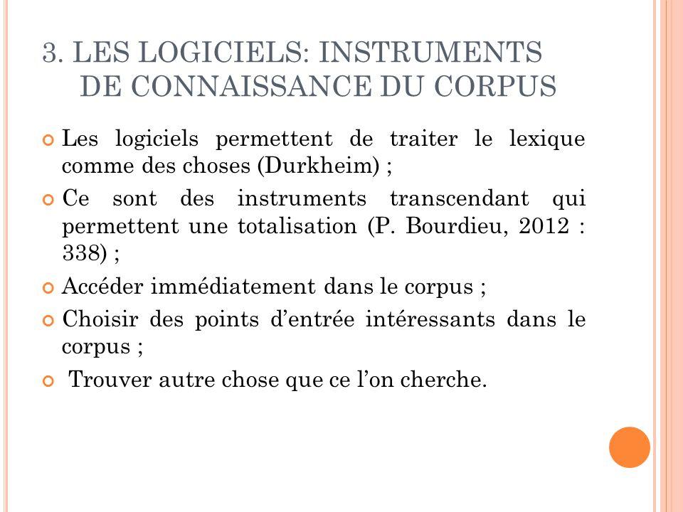 3. LES LOGICIELS: INSTRUMENTS DE CONNAISSANCE DU CORPUS Les logiciels permettent de traiter le lexique comme des choses (Durkheim) ; Ce sont des instr