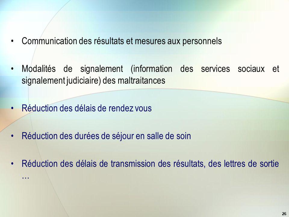 26 Communication des résultats et mesures aux personnels Modalités de signalement (information des services sociaux et signalement judiciaire) des mal