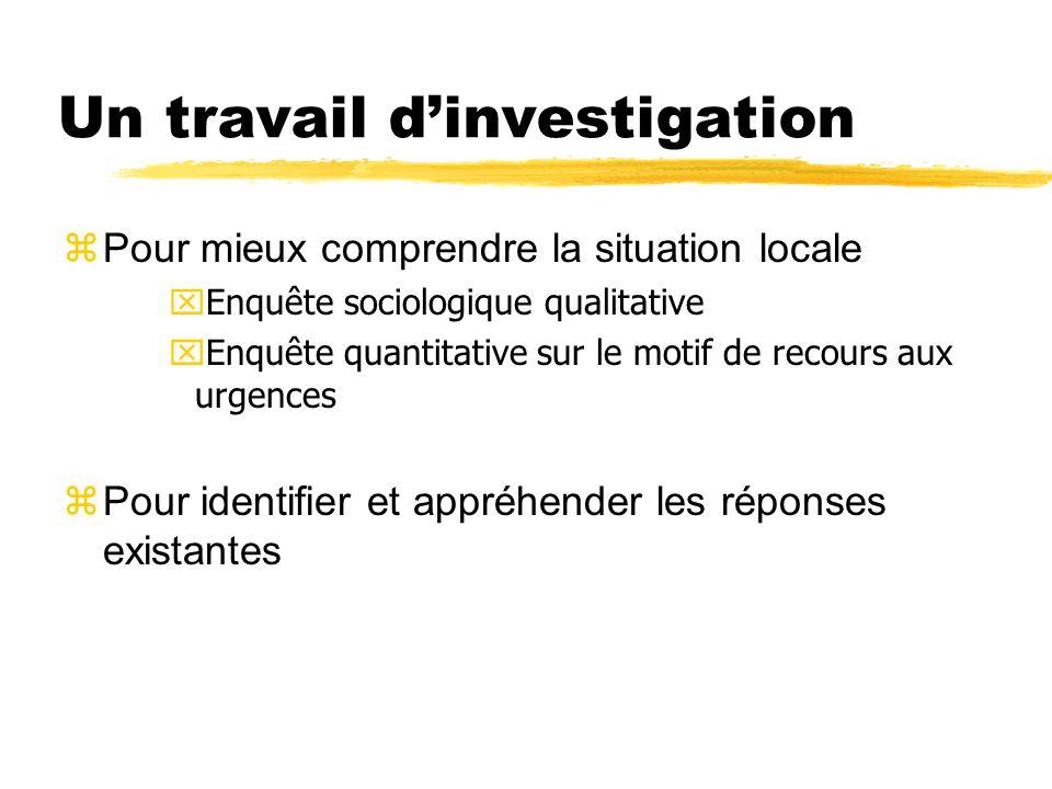 Un travail d'investigation  Pour mieux comprendre la situation locale xEnquête sociologique qualitative xEnquête quantitative sur le motif de recours