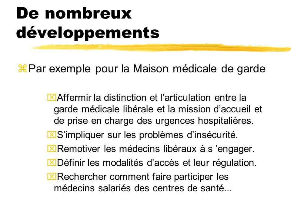 De nombreux développements zPar exemple pour la Maison médicale de garde xAffermir la distinction et l'articulation entre la garde médicale libérale e