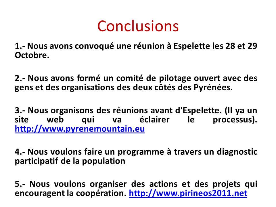Conclusions 1.- Nous avons convoqué une réunion à Espelette les 28 et 29 Octobre.