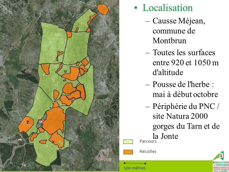 Localisation –Causse Méjean, commune de Montbrun –Toutes les surfaces entre 920 et 1050 m d'altitude –Pousse de l'herbe : mai à début octobre –Périphé