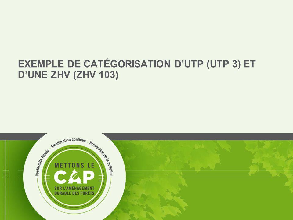 12 EXEMPLE DE CATÉGORISATION D'UTP (UTP 3) ET D'UNE ZHV (ZHV 103)