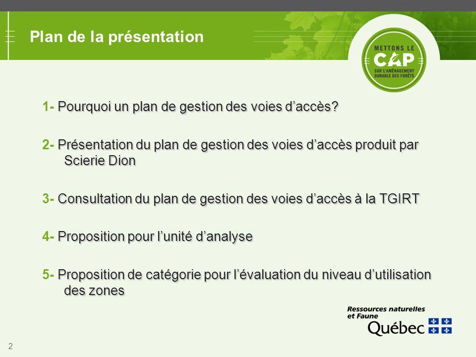 2 Plan de la présentation Pourquoi un plan de gestion des voies d'accès? 1- Pourquoi un plan de gestion des voies d'accès? Présentation du plan de ges