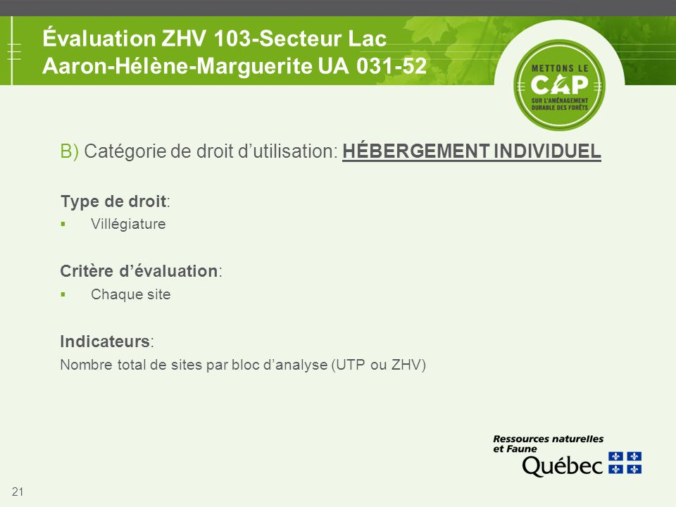 21 Évaluation ZHV 103-Secteur Lac Aaron-Hélène-Marguerite UA 031-52 B) Catégorie de droit d'utilisation: HÉBERGEMENT INDIVIDUEL Type de droit:  Villé