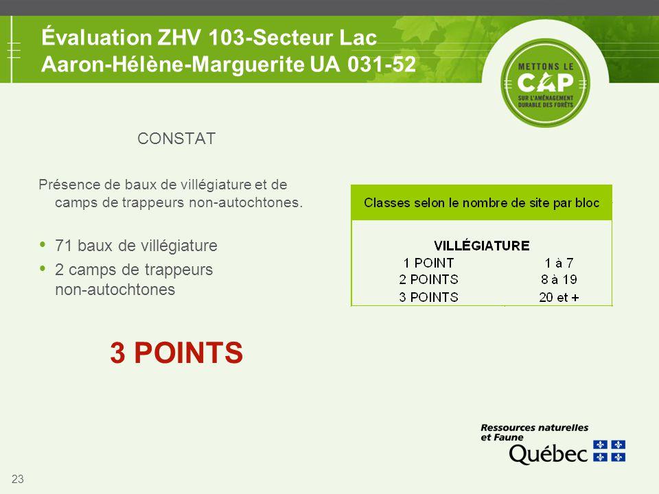 23 Évaluation ZHV 103-Secteur Lac Aaron-Hélène-Marguerite UA 031-52 CONSTAT Présence de baux de villégiature et de camps de trappeurs non-autochtones.