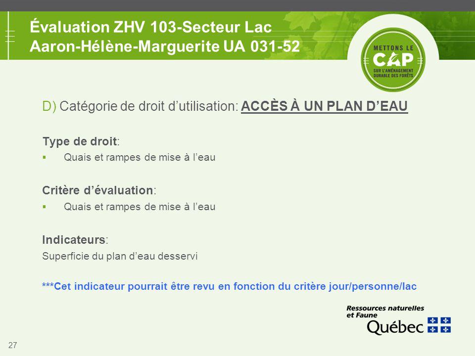 27 Évaluation ZHV 103-Secteur Lac Aaron-Hélène-Marguerite UA 031-52 D) Catégorie de droit d'utilisation: ACCÈS À UN PLAN D'EAU Type de droit:  Quais