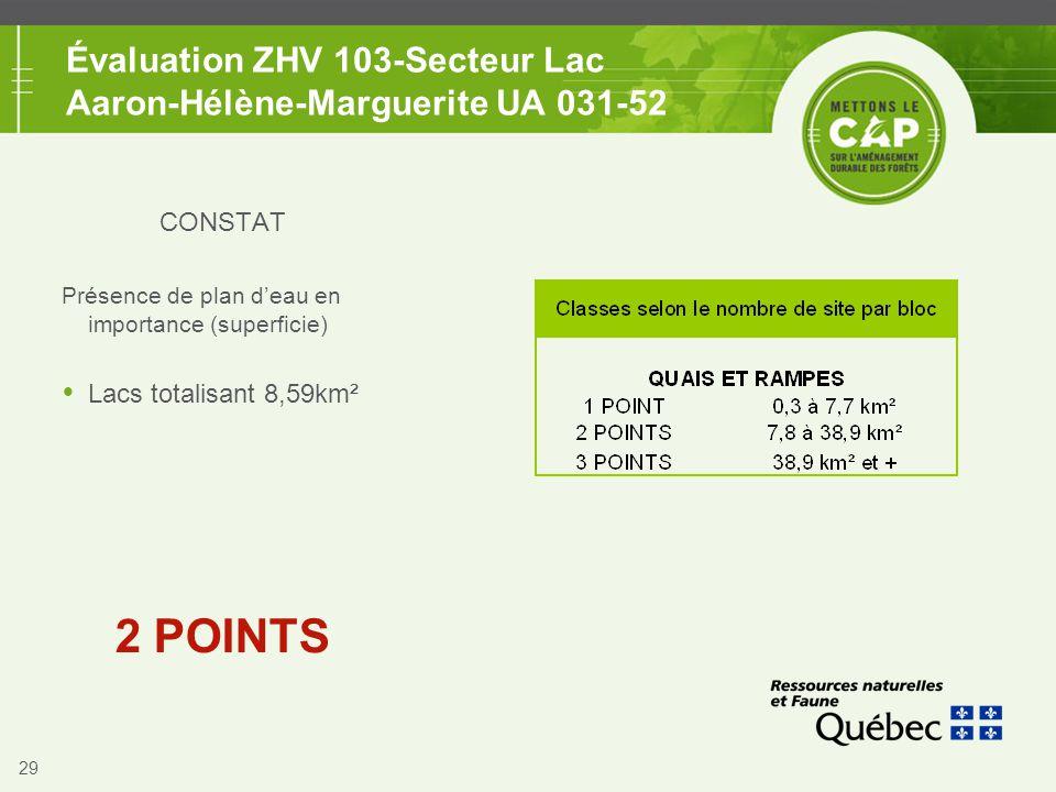 29 Évaluation ZHV 103-Secteur Lac Aaron-Hélène-Marguerite UA 031-52 CONSTAT Présence de plan d'eau en importance (superficie)  Lacs totalisant 8,59km