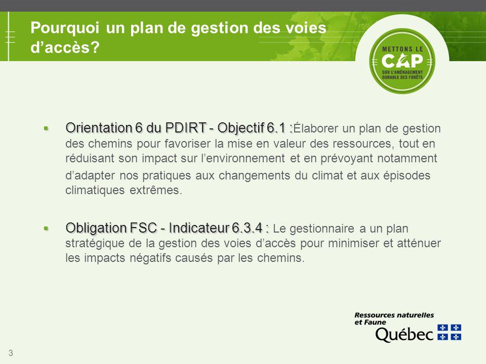 3 Pourquoi un plan de gestion des voies d'accès?  Orientation 6 du PDIRT - Objectif 6.1 :  Orientation 6 du PDIRT - Objectif 6.1 : Élaborer un plan