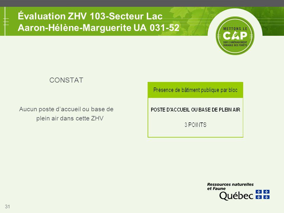 31 Évaluation ZHV 103-Secteur Lac Aaron-Hélène-Marguerite UA 031-52 CONSTAT Aucun poste d'accueil ou base de plein air dans cette ZHV