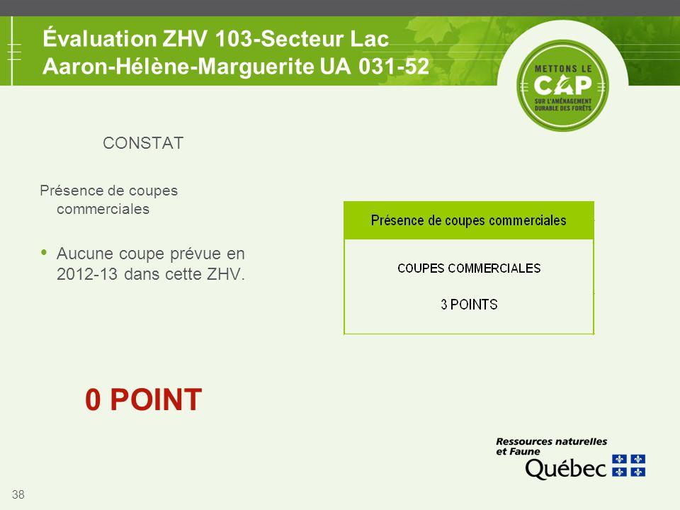 38 Évaluation ZHV 103-Secteur Lac Aaron-Hélène-Marguerite UA 031-52 CONSTAT Présence de coupes commerciales  Aucune coupe prévue en 2012-13 dans cett