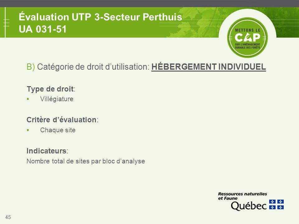 45 Évaluation UTP 3-Secteur Perthuis UA 031-51 B) Catégorie de droit d'utilisation: HÉBERGEMENT INDIVIDUEL Type de droit:  Villégiature Critère d'éva