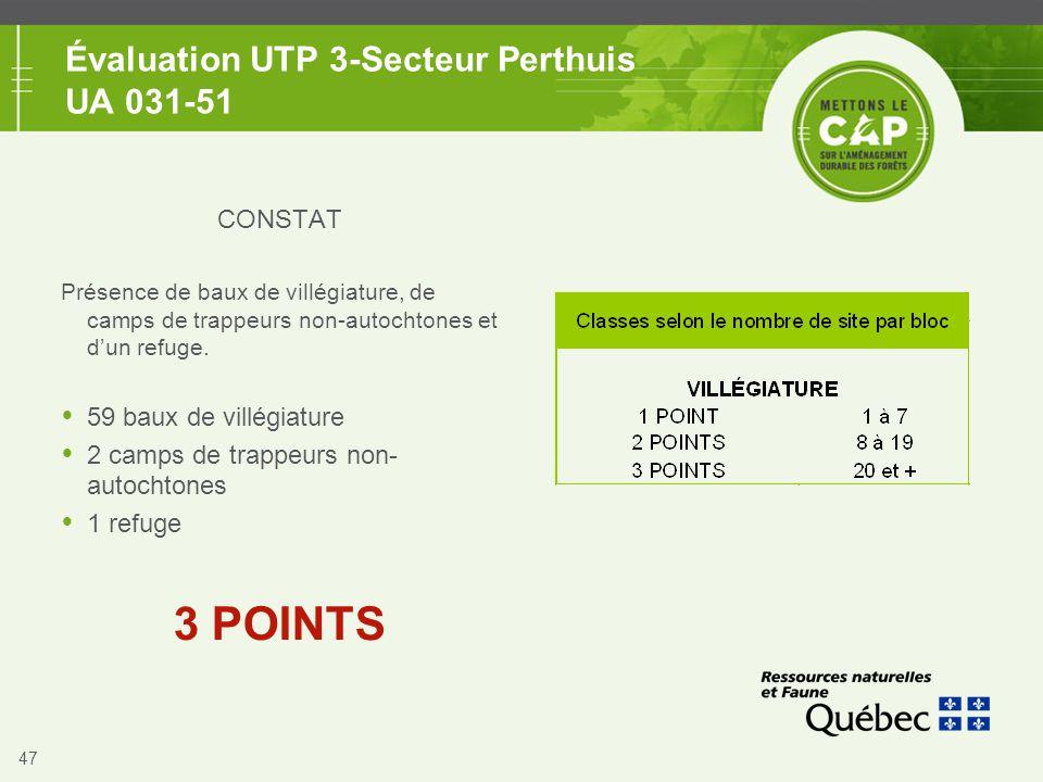 47 Évaluation UTP 3-Secteur Perthuis UA 031-51 CONSTAT Présence de baux de villégiature, de camps de trappeurs non-autochtones et d'un refuge.  59 ba