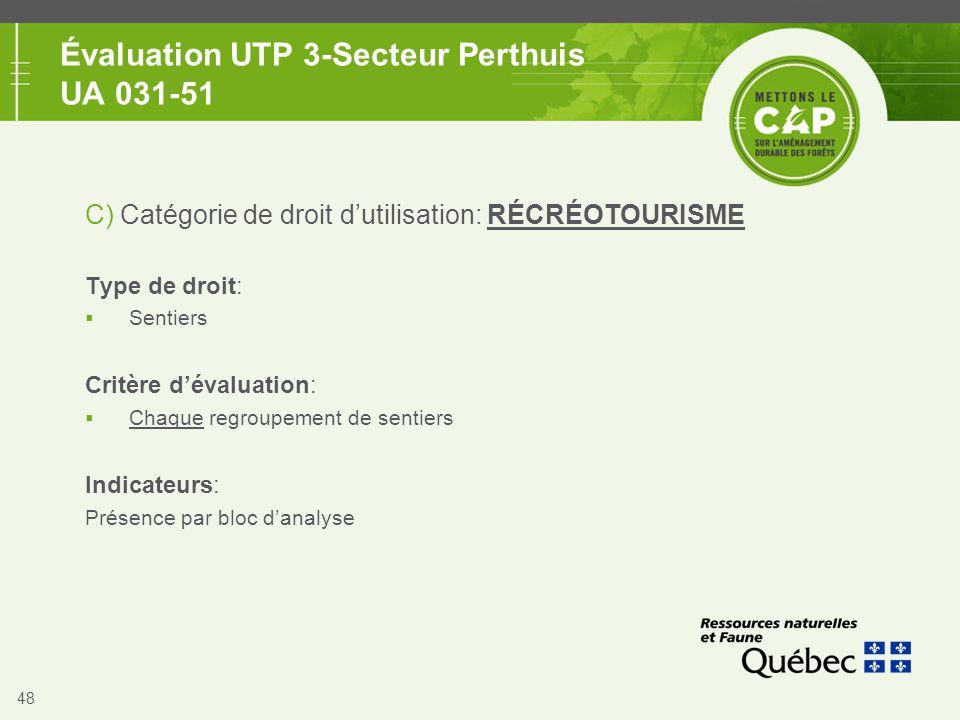 48 Évaluation UTP 3-Secteur Perthuis UA 031-51 C) Catégorie de droit d'utilisation: RÉCRÉOTOURISME Type de droit:  Sentiers Critère d'évaluation:  C