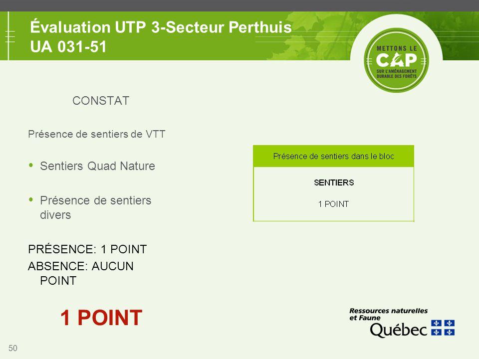 50 Évaluation UTP 3-Secteur Perthuis UA 031-51 CONSTAT Présence de sentiers de VTT  Sentiers Quad Nature  Présence de sentiers divers PRÉSENCE: 1 PO