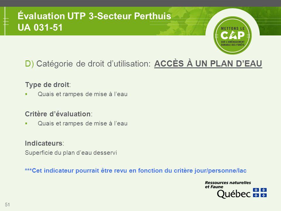 51 Évaluation UTP 3-Secteur Perthuis UA 031-51 D) Catégorie de droit d'utilisation: ACCÈS À UN PLAN D'EAU Type de droit:  Quais et rampes de mise à l
