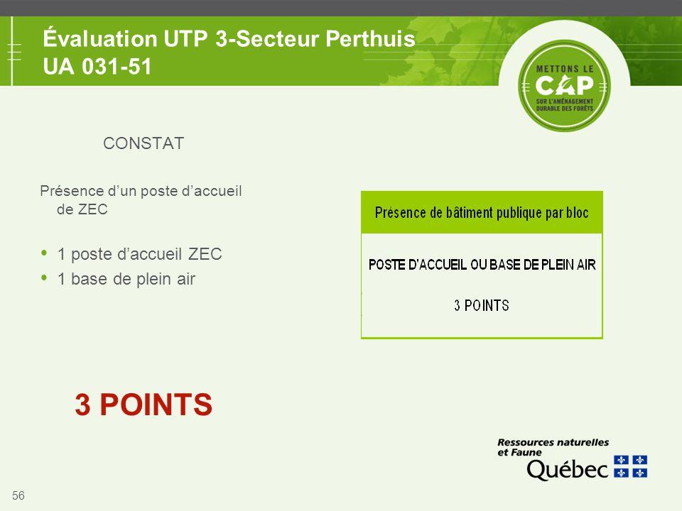 56 Évaluation UTP 3-Secteur Perthuis UA 031-51 CONSTAT Présence d'un poste d'accueil de ZEC  1 poste d'accueil ZEC  1 base de plein air 3 POINTS