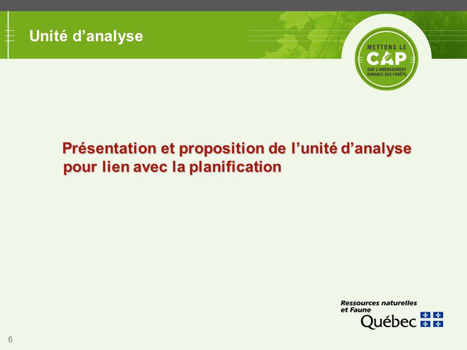 6 Unité d'analyse Présentation et proposition de l'unité d'analyse pour lien avec la planification
