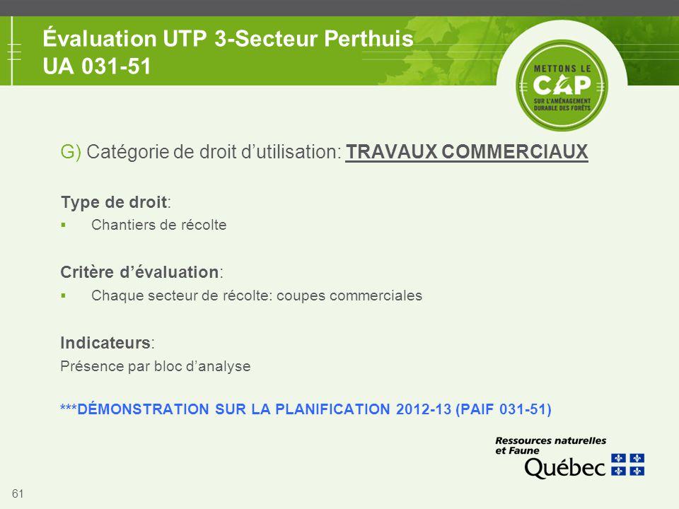 61 Évaluation UTP 3-Secteur Perthuis UA 031-51 G) Catégorie de droit d'utilisation: TRAVAUX COMMERCIAUX Type de droit:  Chantiers de récolte Critère