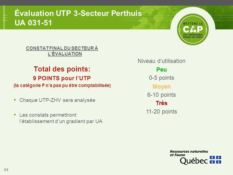 64 Évaluation UTP 3-Secteur Perthuis UA 031-51 CONSTAT FINAL DU SECTEUR À L'ÉVALUATION Total des points: 9 POINTS pour l'UTP (la catégorie F n'a pas p
