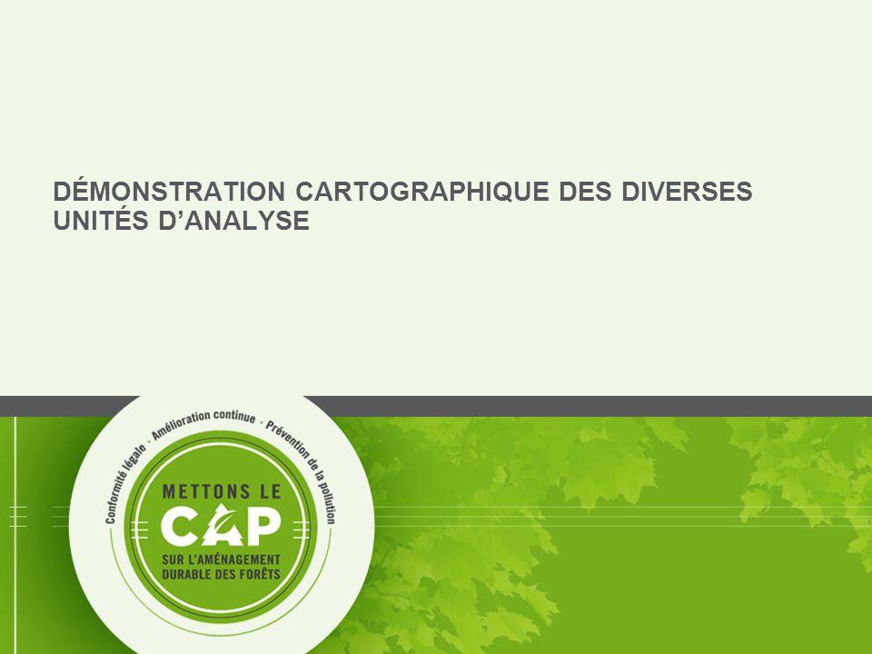 8 DÉMONSTRATION CARTOGRAPHIQUE DES DIVERSES UNITÉS D'ANALYSE