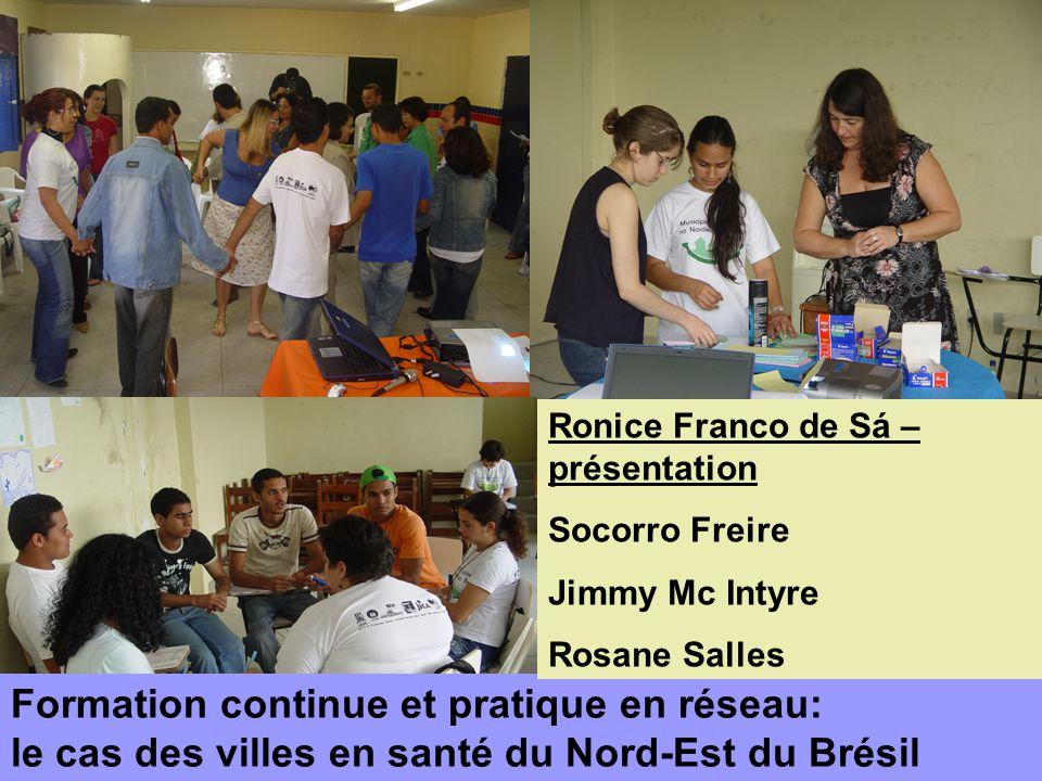 Formation continue et pratique en réseau: le cas des villes en santé du Nord-Est du Brésil Ronice Franco de Sá – présentation Socorro Freire Jimmy Mc Intyre Rosane Salles