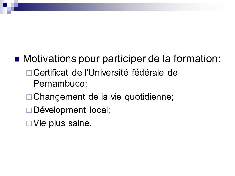 Motivations pour participer de la formation:  Certificat de l'Université fédérale de Pernambuco;  Changement de la vie quotidienne;  Dévelopment lo