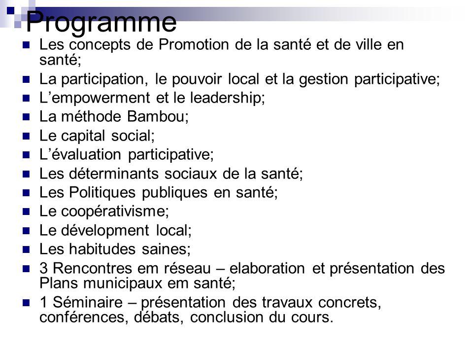Programme Les concepts de Promotion de la santé et de ville en santé; La participation, le pouvoir local et la gestion participative; L'empowerment et
