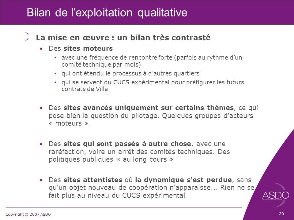 Copyright © 2007 ASDO Bilan de l'exploitation qualitative La mise en œuvre : un bilan très contrasté Des sites moteurs  avec une fréquence de rencont