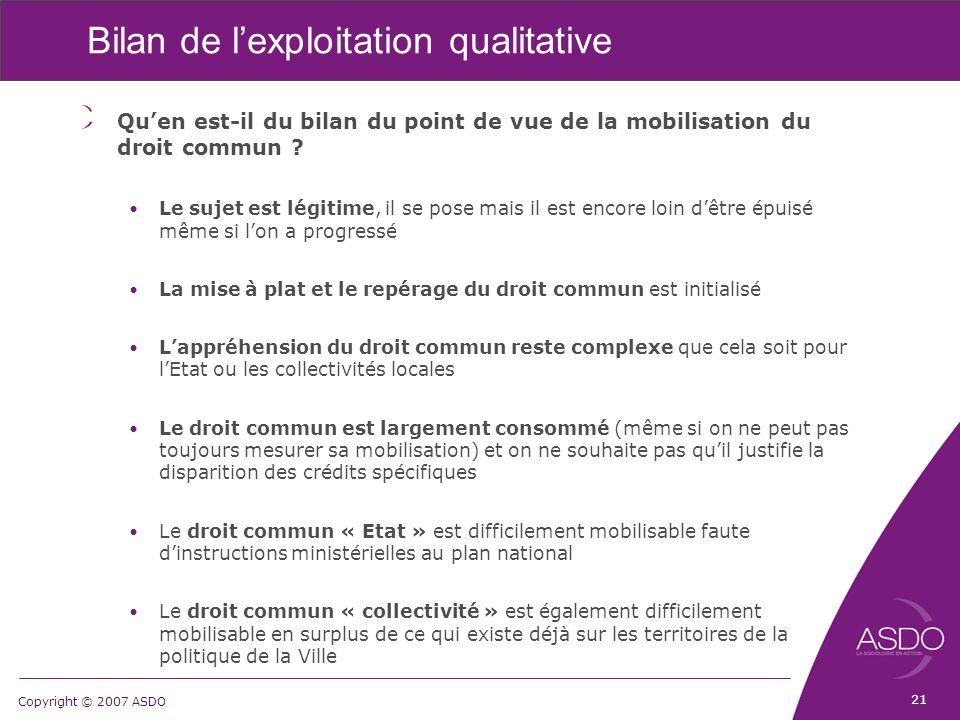 Copyright © 2007 ASDO Bilan de l'exploitation qualitative Qu'en est-il du bilan du point de vue de la mobilisation du droit commun ? Le sujet est légi