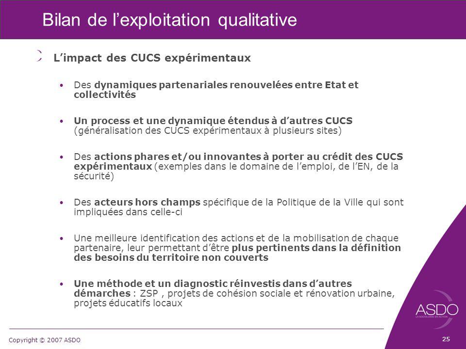 Copyright © 2007 ASDO Bilan de l'exploitation qualitative L'impact des CUCS expérimentaux Des dynamiques partenariales renouvelées entre Etat et colle