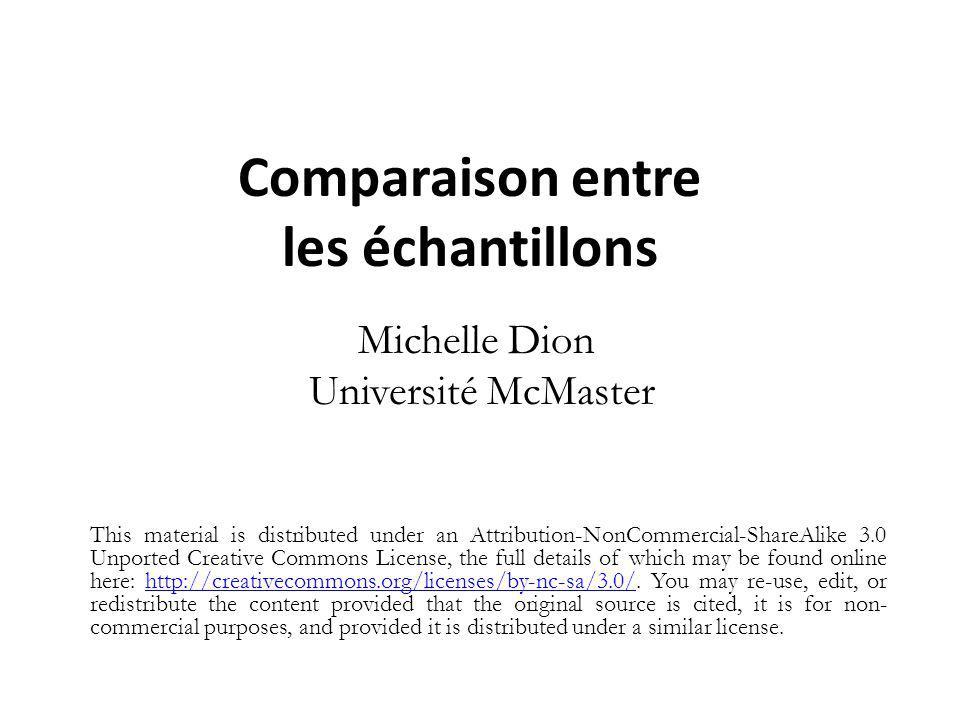 Comparaison entre les échantillons Michelle Dion Université McMaster This material is distributed under an Attribution-NonCommercial-ShareAlike 3.0 Un