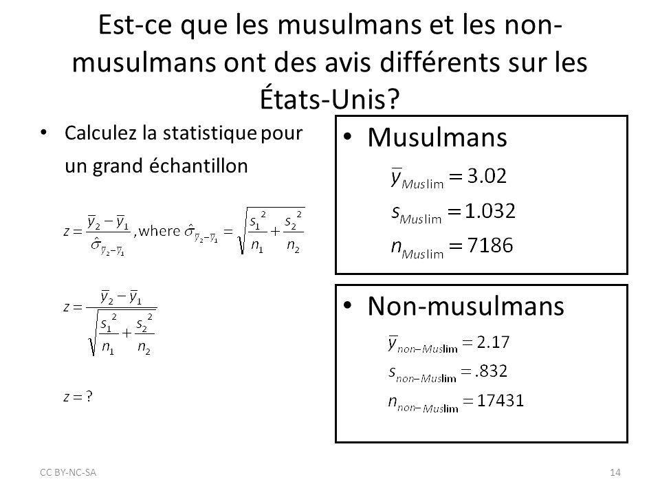 Est-ce que les musulmans et les non- musulmans ont des avis différents sur les États-Unis? Calculez la statistique pour un grand échantillon Musulmans